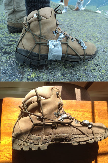 Creative Boot Fix Using Bison Designs Paracord Survival Bracelet